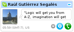 Raúl's Skype tooltip shows it's 6am where he is.