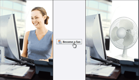 Three panels: woman smiling while looking at computer screen; mouse pointer pointing at 'Become a fan' button from an old version of Facebook; woman has been replaced by a desk fan.