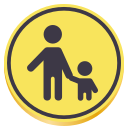 Malcontent icon: Silhoutte of parent and child holding hands