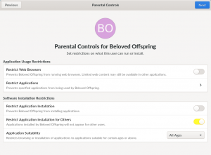 Screenshot of Parental Controls page of GNOME Initial Setup, showing options to restrict which applications can be installed or used