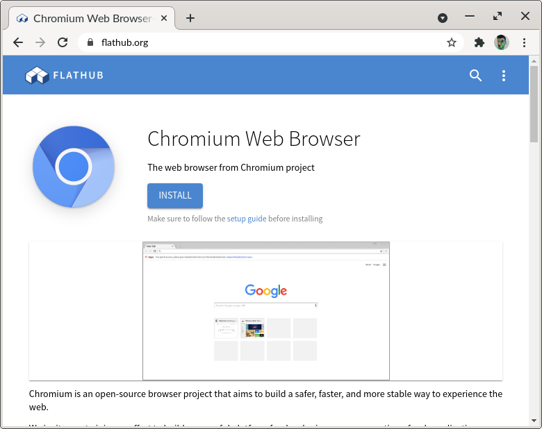 Screenshot of Chromium showing the Chromium page on flathub.org